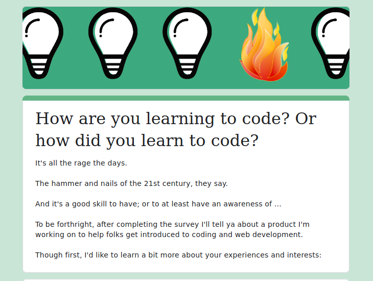 How'd you learn to code survey intro
